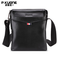 P KUONE Brand 100 Genuine Cow Leather Flap Handbag Men Business Shoulder Bags Male Casual Crossbody