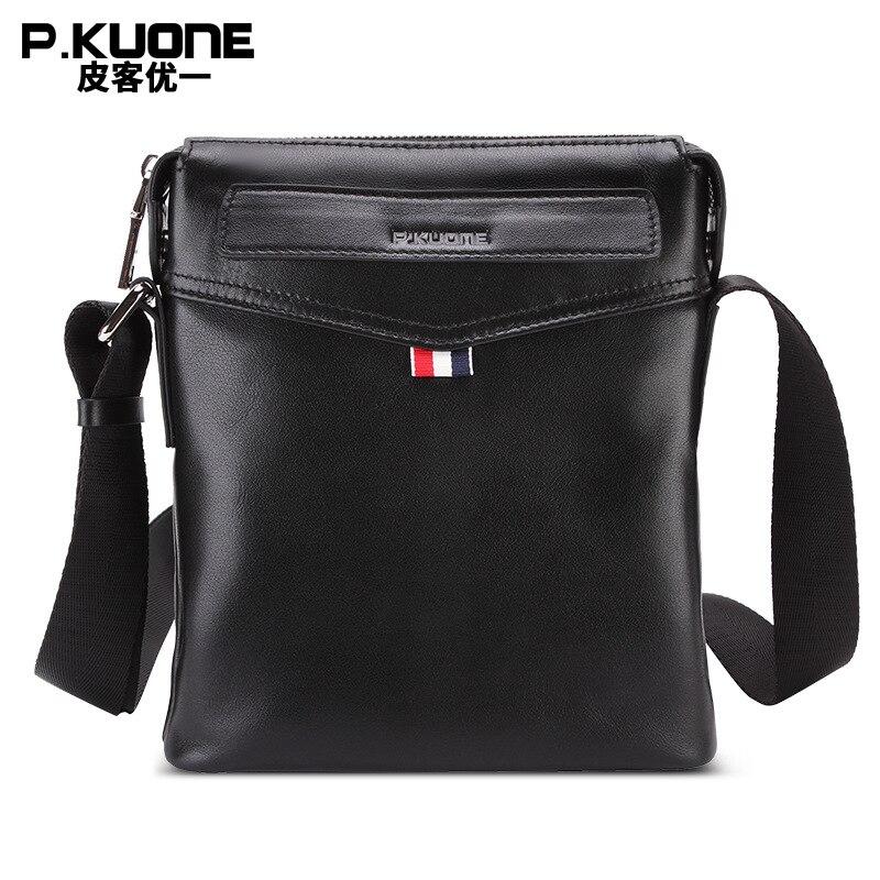 Здесь продается  P.KUONE Brand 100% Genuine Cow Leather Flap Handbag Men Business Shoulder Bags Male Casual Crossbody Messager Bag mini ipad bag  Камера и Сумки