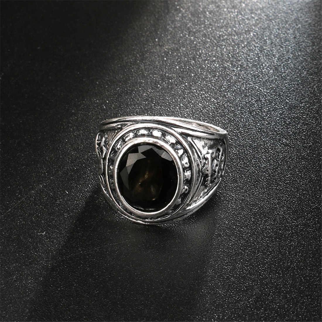Big VINTAGE เงินสีดำแหวนหินสำหรับผู้หญิงแฟชั่นเครื่องประดับของขวัญวันวาเลนไทน์