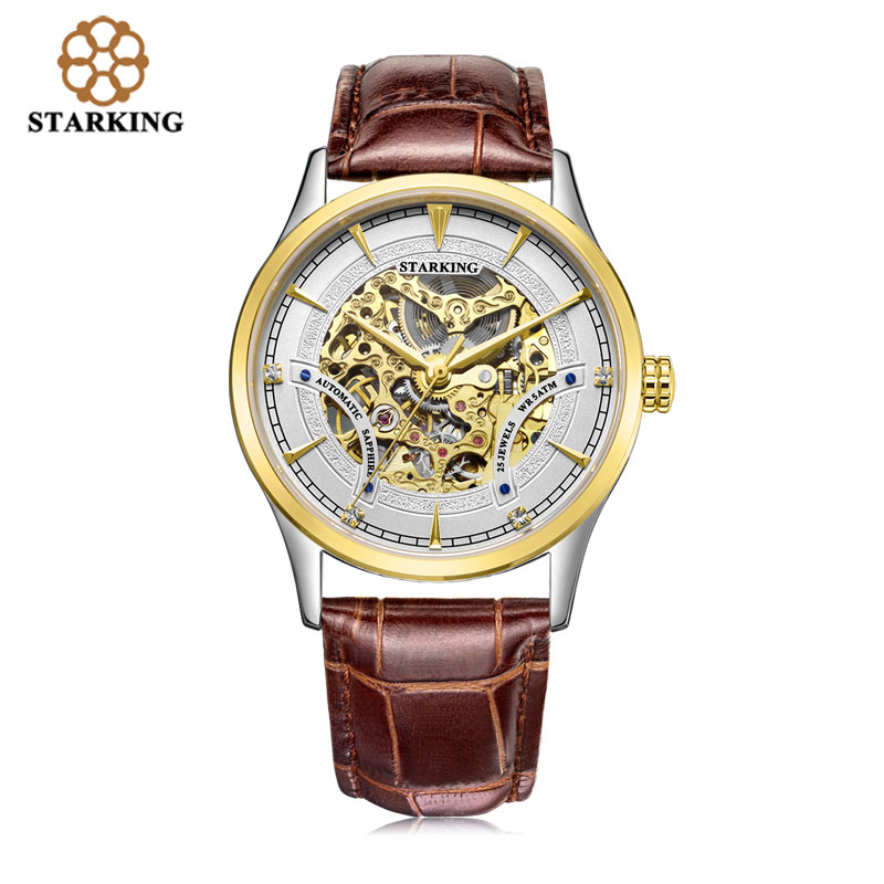 STARKING Top Brand Luxury Mechanical Wristwatches Men Fashion Automatic Skeleton Stainless Steel Watches 50m Water Resistant men luxury automatic mechanical watch fashion calendar waterproof watches men top brand stainless steel wristwatches clock gift
