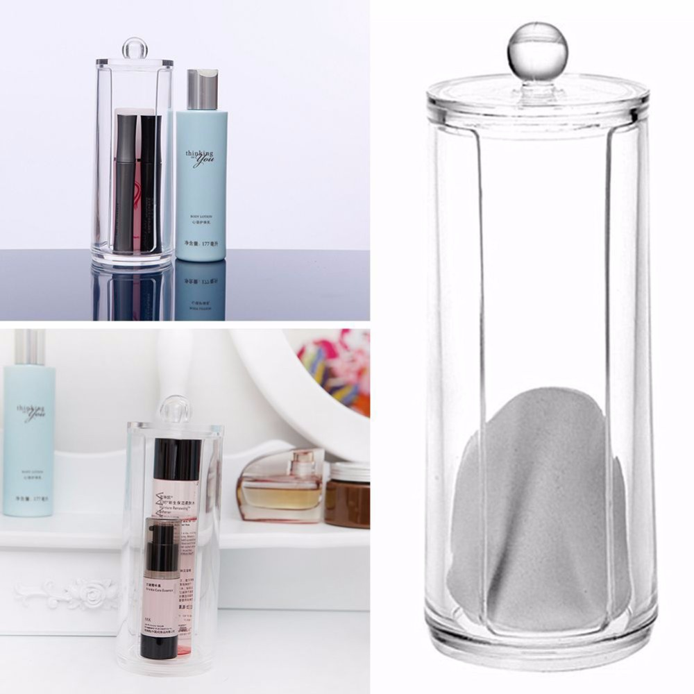 1pcs Transparent Round Container Storage Case For Make Up CottonPad Box Nail Art Remover Paper Wip 17x6.8cm Storage Boxes Bins