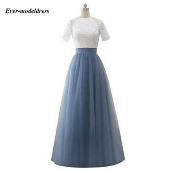 New Two Pieces Lace Country Bridesmaid Dresses Short Sleeve A Line Open Back Floor Length Dress For Guest Party Vestido madrinha