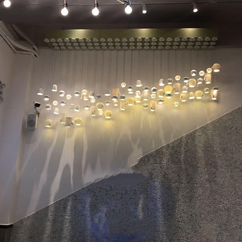 Luzes led nórdicas de cerâmica, luminária suspensa