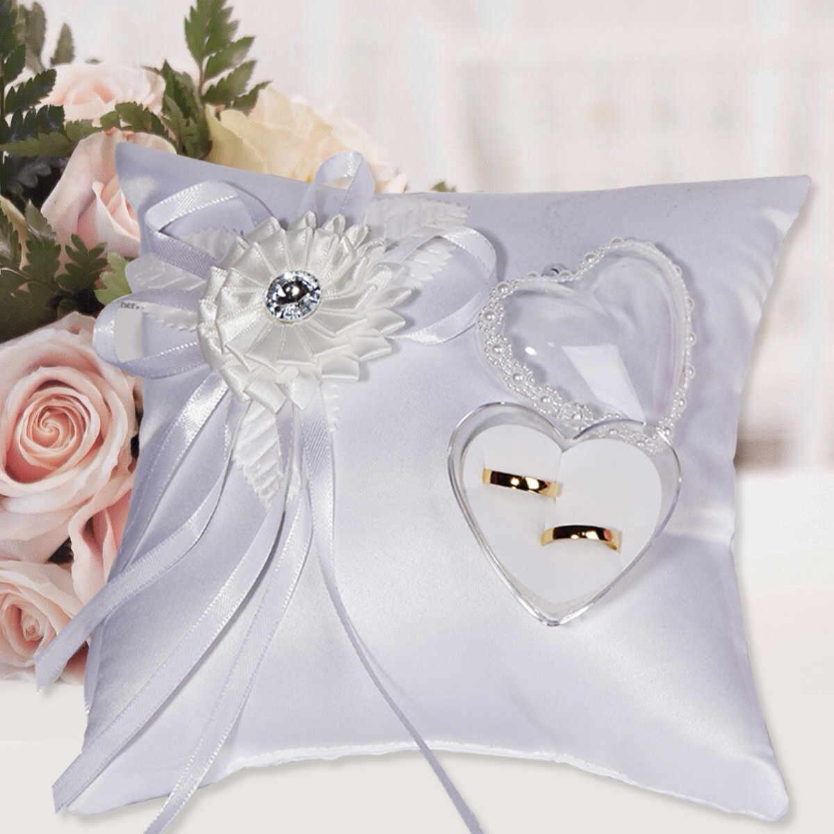 Aofocy Almohada de portador de anillo de sat/én de coraz/ón doble y canasta de ni/ña de flores de boda 8 x 8 pulgadas