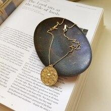 LouLeur 925 סטרלינג כסף שמש פרח תליון שרשרת זהב אופנה גיאומטריה עגול כרטיס דפוס לתכשיטי נשים