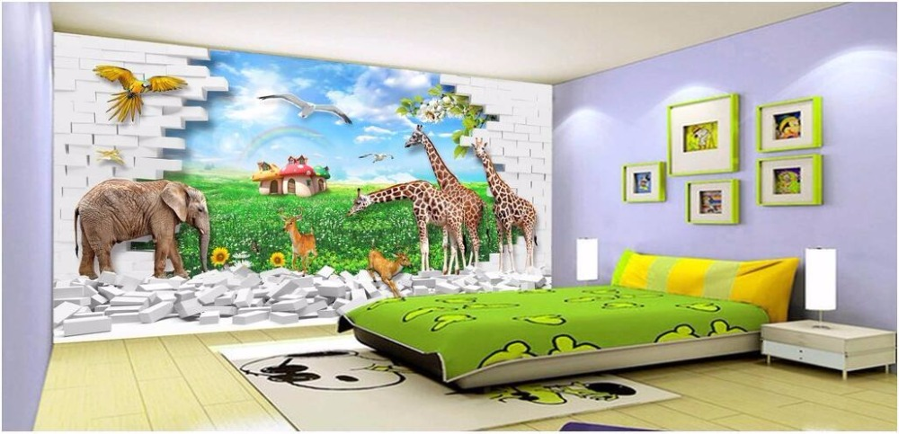 US $14.42 53% OFF|Benutzerdefinierte foto mural 3d tapete kinderzimmer ist  tier welt einstellung wanddekormalerei 3d wandbilder wallpaper für wände 3  ...