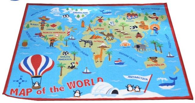 Peta Dunia Anak Karpet Kamar Tidur Animal Print Desainer Gambar