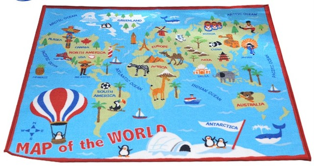 Children\'s Map Of The World World map Kids Carpet Bedroom, animal print Rug, Designer Figure