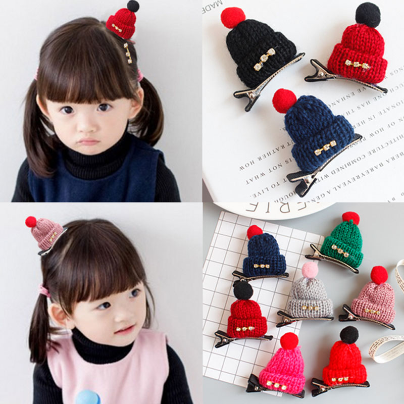 M MISM Lovely Girls Knitted Hat Shape Hairpins Kids Hair Accessories Rhinestone Hair Clip Hairgrips Crochet Colorful m mism girl cute hairball hairpins lovely colorful hairgrips kids accessories new arrival hair clips headwear best gift to kids