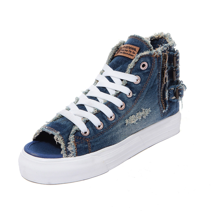 ФОТО Summer Sandal Denim Female Summer Jeans Shoes Flats Punk Style Cut-out Platform Sandals Canvas Peep Toes Sapato Feminino