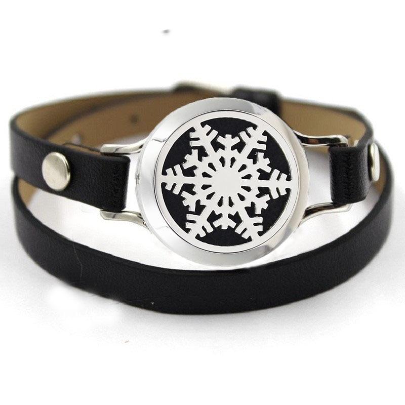 2017 Black Leather Bracelets Screw Snowflake Essential Oil Diffuser Perfume Locket Bracelet&Bangle For Perfume Locket Pads