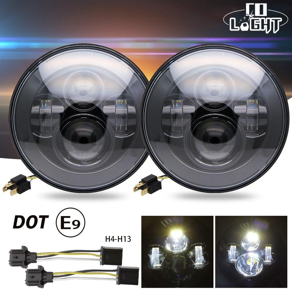 CO LIGHT 7 50W LED Headlight for Benz G36 Jeep CJ Wrangler JK Driving Light Lada 4x4 12V H4 High Low 30W 6000K 1PCS/2PCS 2pcs 7 inch led driving light 50w 30w h4 h13 led car headlight kit auto for jeep led head lamp bulbs dipped