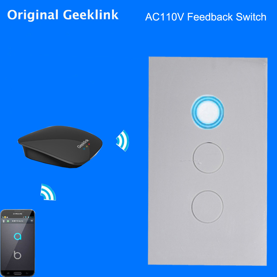 Original Geeklink US 118 Two-way Feedback Switch WIFI Touch Remote Control 1gang 2gang 3gang AC110-220V RemoteBox3S Thinker APP