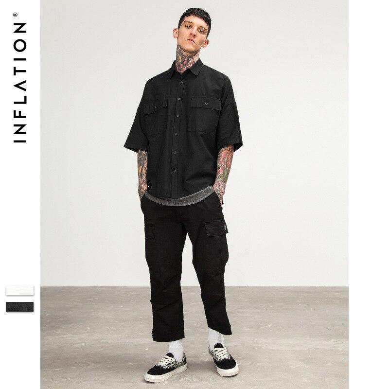 ผ้าฝ้าย 100% เสื้อผู้ชายเสื้อผ้าฤดูร้อน 2019 เสื้อลำลองผู้ชายสั้นเสื้อบุรุษ Mens แฟชั่นสีขาวสีดำเสื้อบุรุษ Camisa ZT194-ใน เสื้อเชิ้ตลำลอง จาก เสื้อผ้าผู้ชาย บน AliExpress - 11.11_สิบเอ็ด สิบเอ็ดวันคนโสด 1
