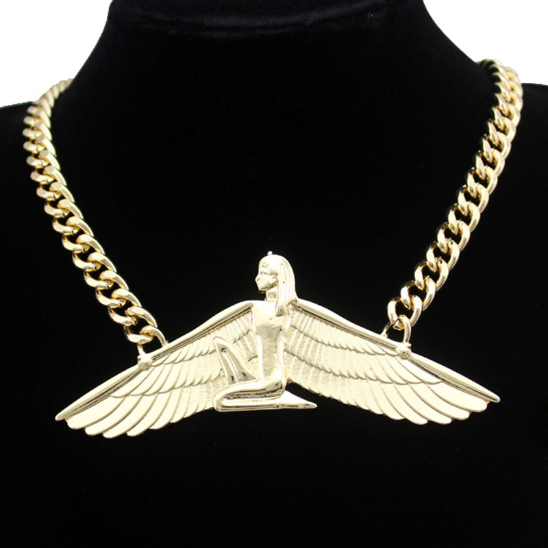 <font><b>Isis</b></font> Ankh <font><b>Wing</b></font> Chunky Choker Colar Link Chain Necklace <font><b>Women</b></font> Vintage Egyptian Wicca Pagan Indina Jewelry Dropshipping image