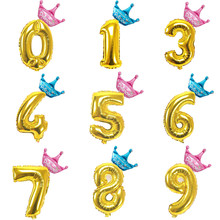 1 ensemble 32 pouces couronne chiffres feuille or et argent numéro ballon flotteur Air gonflable balles fête d'anniversaire mariage décoration fournitures