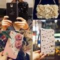 Luxo 3D Rose Flor Bolsa de Couro Cartão de Aleta Cinta Carteira Wristlet tampa do caso para o iphone 6 6 s plus 5 5S para samsung galaxy