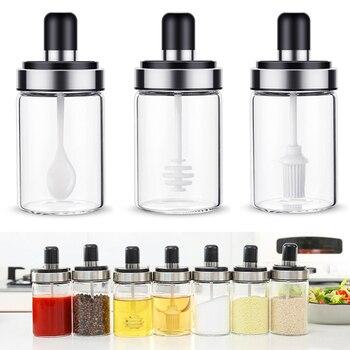 Útil botella de condimento de vidrio de cocina caja de almacenamiento de sal tarro de especias con cuchara suministros de cocina para azúcar sal pimienta en polvo