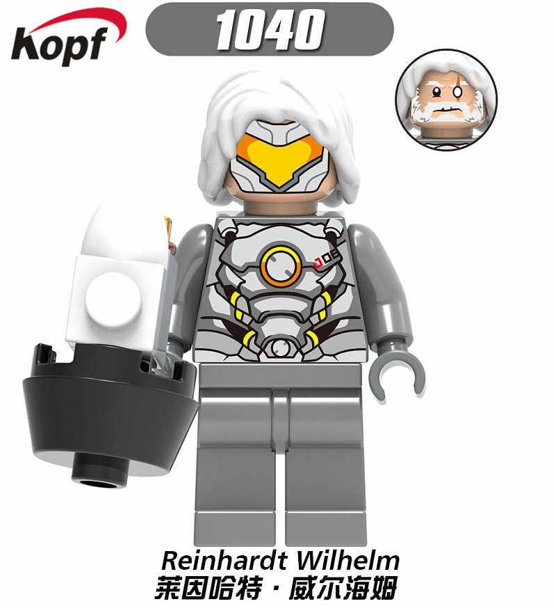 Blocos de construção de D. va Reinhardt Wilhelm Jesse. mccree Reaper Soldado: 76 Shimada Hanzo Misericórdia Figuras Crianças Brinquedos Coleção X0230