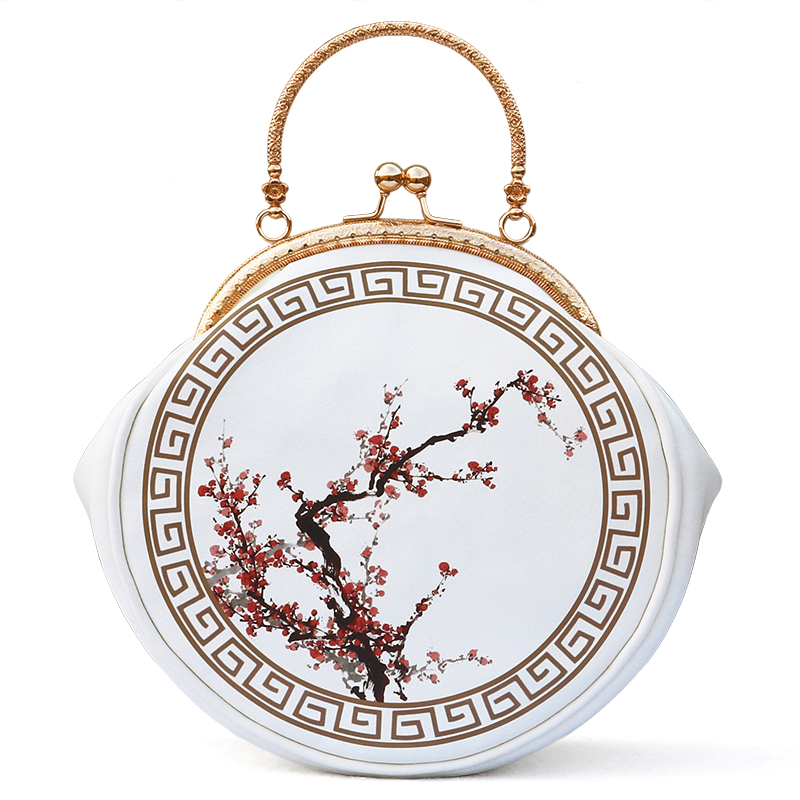 ФОТО Fashion personality creative plum blossom printing women messenger bag crossbody bag female handbag round original China design