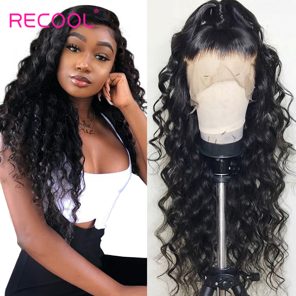 Recool Loose Deep Wave Wig Lace Front Human Hair Wigs 180 250 Density 360 Lace Frontal