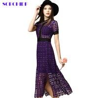 Sorchidf滑走路レースドレス女性ハイウエスト中空かぎ針編み半袖紫ブルゴーニュレースドレスホタテ刃物ミディドレス