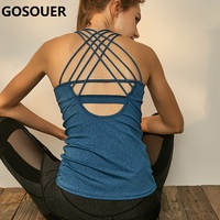 Women Yoga Camisole Padded Crop Tops Wirefree Shockproof Sports Tank Top Fitness Bralette Top Cross Running Vest Tops