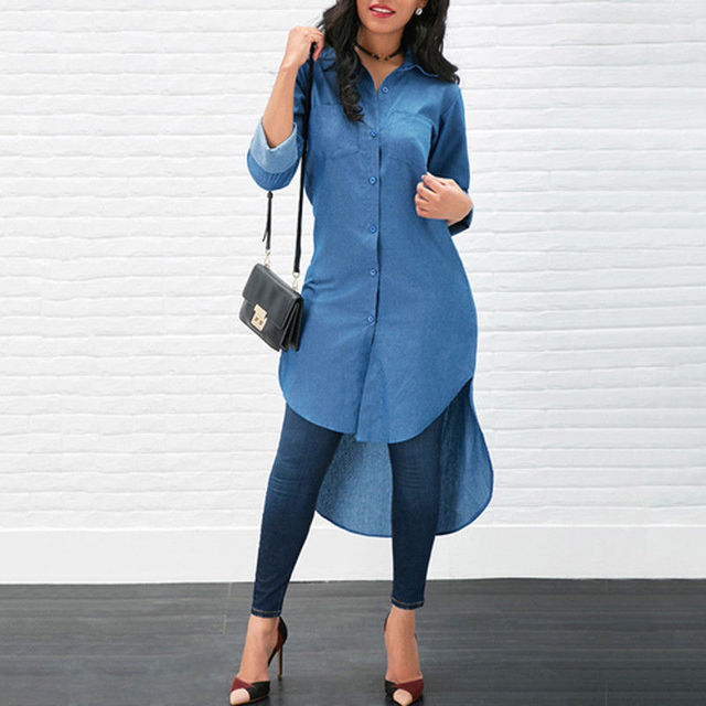 d2a3aacb33a Women Blue Denim Long Shirts Blouse Fashion Ladies Button Irregular Short  front Long back Shirt Solid Female Tops Long Sleeve