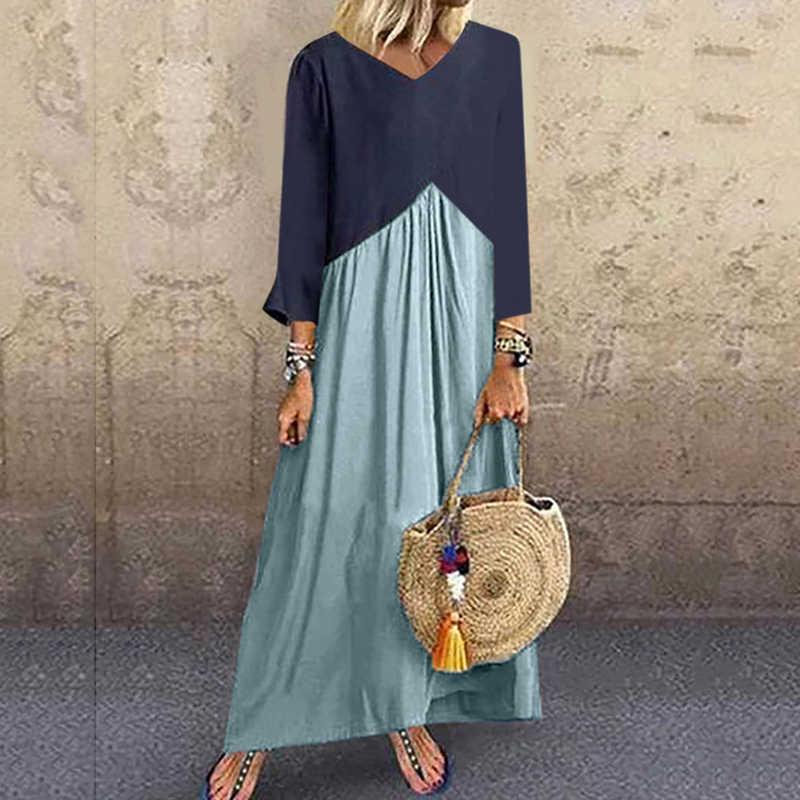 Lipswag 5XL, винтажное длинное платье с коротким рукавом, пэчворк, повседневное, свободное, размера плюс, Ретро стиль, макси платья, женское летнее пляжное платье с круглым вырезом