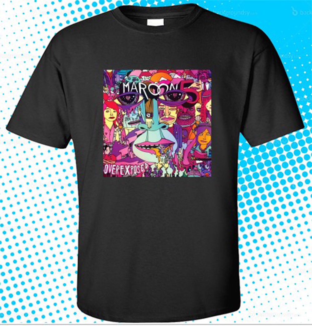 Anime Print Tee New Maroon 5 Overexposed American Pop Rock Band Mens Black T-Shirt Size S-3XL