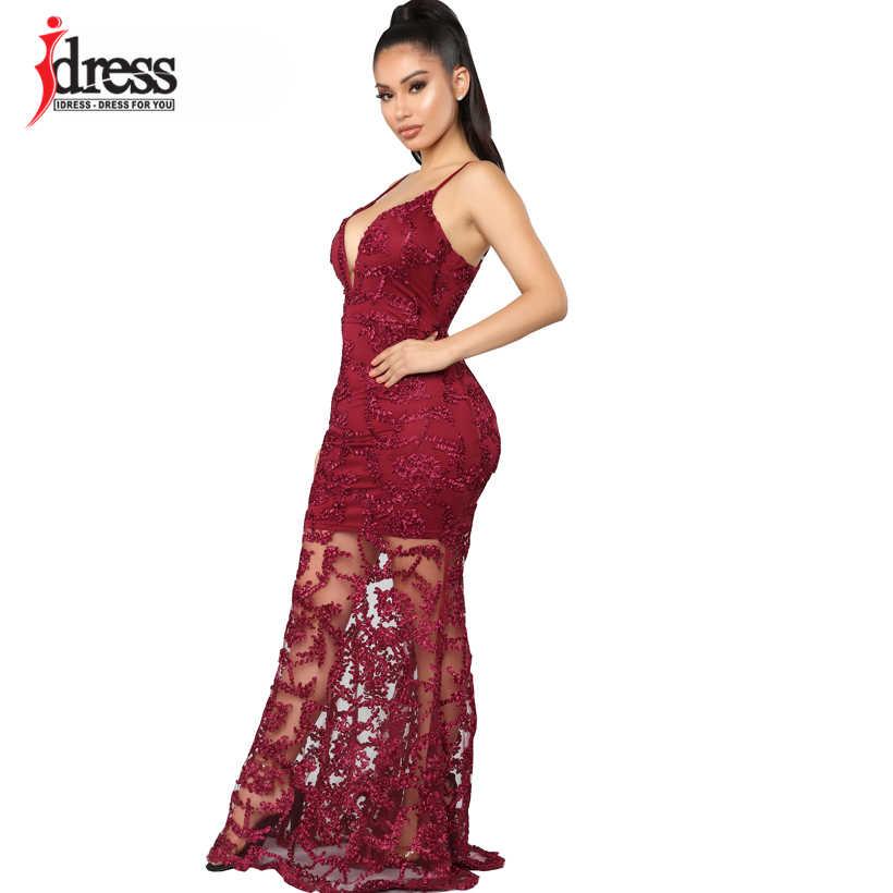 4351227ceb31 ... IDress 2019 Runway Design Red Blue Black Women Bodycon Floor Length  Long Dress Sexy Backless Night ...