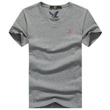 T Shirt Men 2018 Leisure Summer V-neck Short Sleeved Cotton Stretch AFS JEEP Men's Black White Slim Camisetas Men Tshirt стоимость