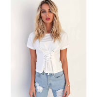 T Shirt Women Summer Casual Solid Color Short Sleeves Rivet Bandage Bow O Neck Woman Tops