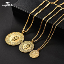 Three Size Muslim Islam Turkey Ataturk Pendant Allah Arab Necklaces for Women Gold Color Turkish Coins Jewelry Ethnic Gifts