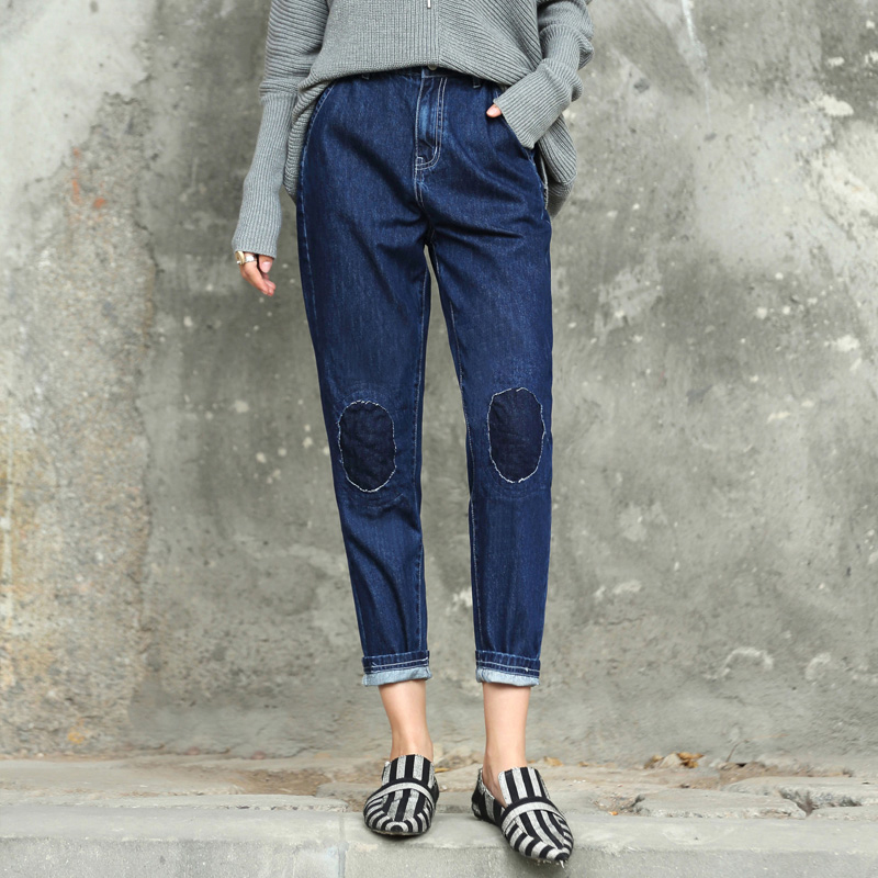 Amii Redefine Denim Jeans Women 2018 Casual Loose Zipper Fly Panelled Patchwork High Flat Straight Boy Friend   Pants     Capris