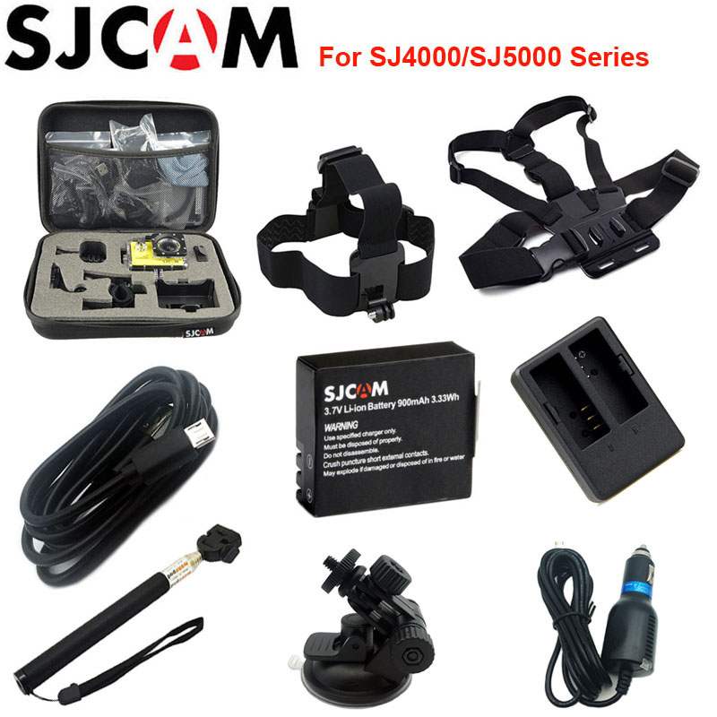 SJCAM Collecting Bag Rechargable Li-ion Battery Car Charger Monopod For SJCAM SJ4000 SJ5000 SJ5000X Elite M10 WiFi Action Camera