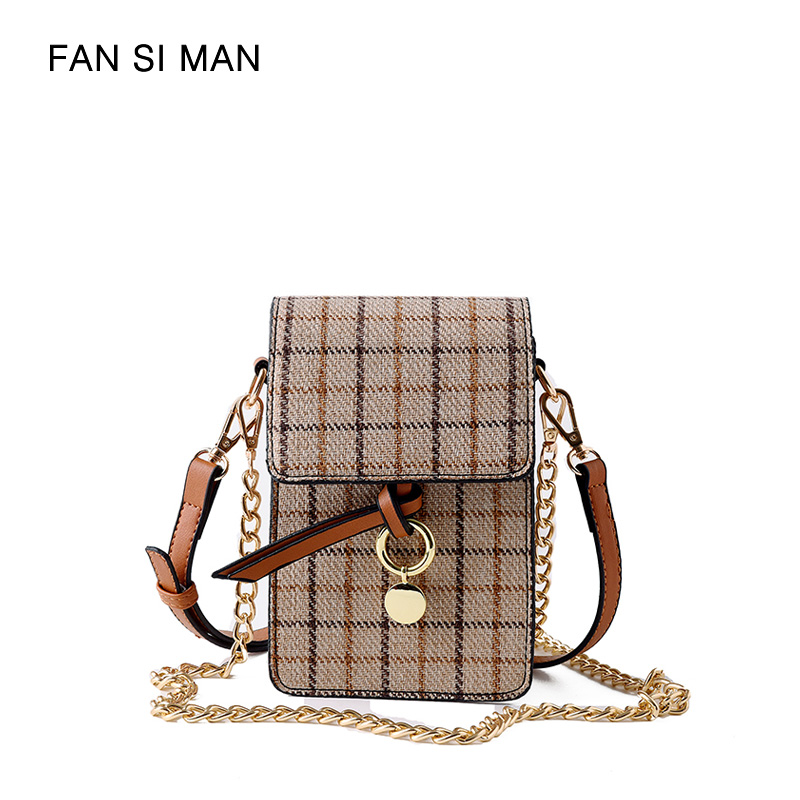 Fansiman Brand Women Messenger Bags Plaid Fashion Crossbody Bag Designer Female Shoulder Bag Chains High Quality Small Phone Bag топливная форсунка 0434250162 0 434 250 162 dn0sd301