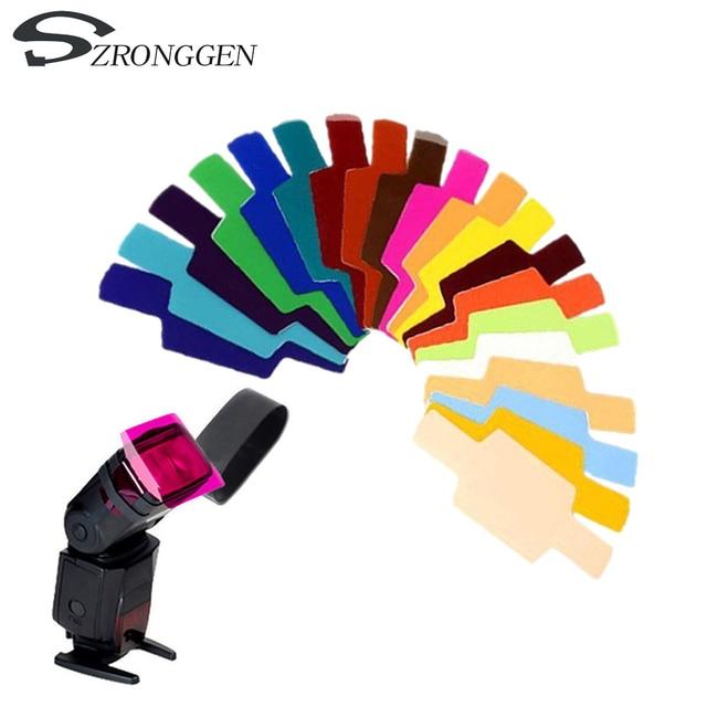 20 màu Chụp Ảnh Gel Màu Lọc Thẻ Ánh Sáng Khuếch Tán cho Canon Nikon Sony Yongnuo Flash Godox Flash Nissin Speedlite