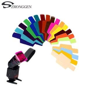 Image 1 - Filtro de gel para fotografía difusor de iluminación de tarjeta, 20 colores, para Canon, Nikon, Sony, Yongnuo, Godox, Flash, Nissin, Speedlite