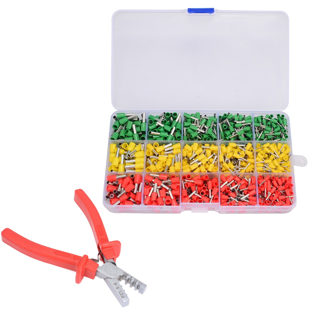 цена на 990pcs Wire Crimp Connector Terminal Crimping Tool Kit + Ferrule Crimper Plier with Case 5 Sizes