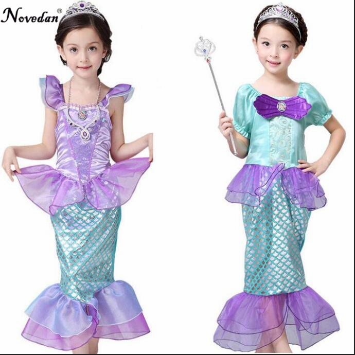 Girls Halloween Party Cosplay Costume Child Kids The Little Mermaid Ariel Dresses Princess Ariel Mermaid Costume