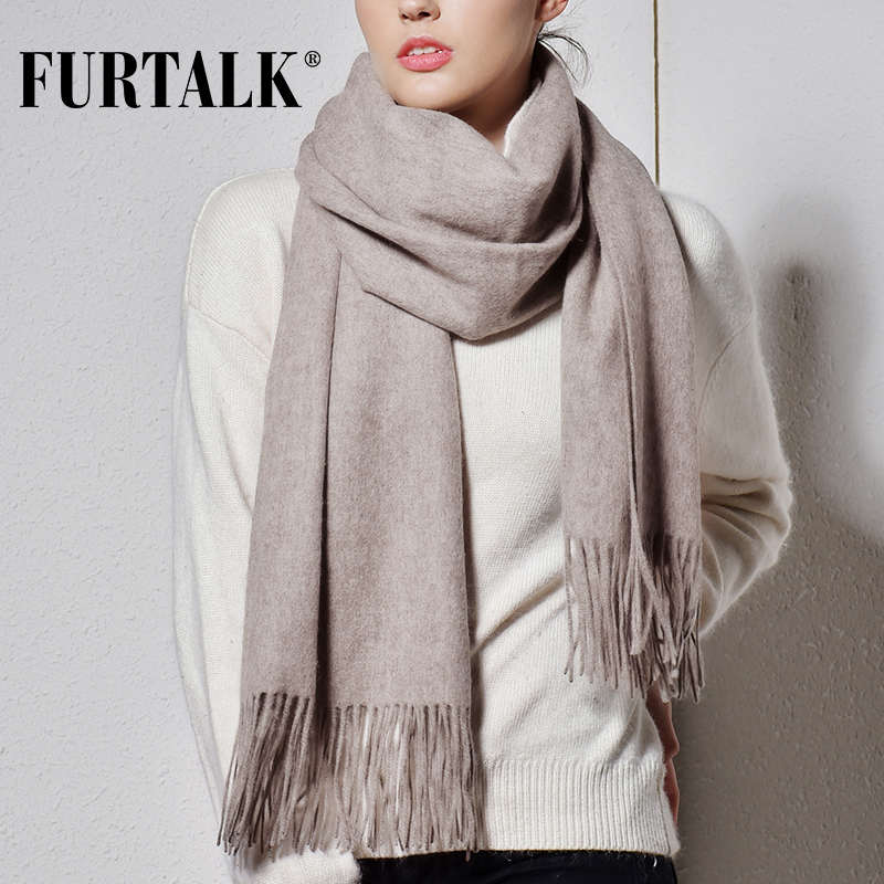 FURTALK 100% bufanda de lana de cordero para mujer Cachemira bufanda de lana Pashmina Bandana invierno otoño bufanda larga Mujer chales foulard femme