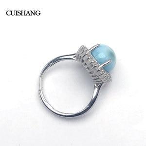 Image 2 - CSJ doğal larimar yüzük sterlini 925 gümüş yeni moda ve moda stil kadınlar için güzel takı bayanlar düğün nişan hediye