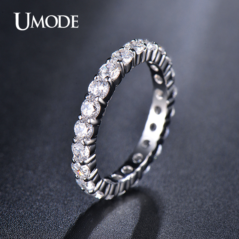 все цены на UMODE Wedding 3mm 0.1 Carat Round CZ White Gold Color Simulated Eternity Ring Bands New Jewelry for Women Bague Anillos UR0279