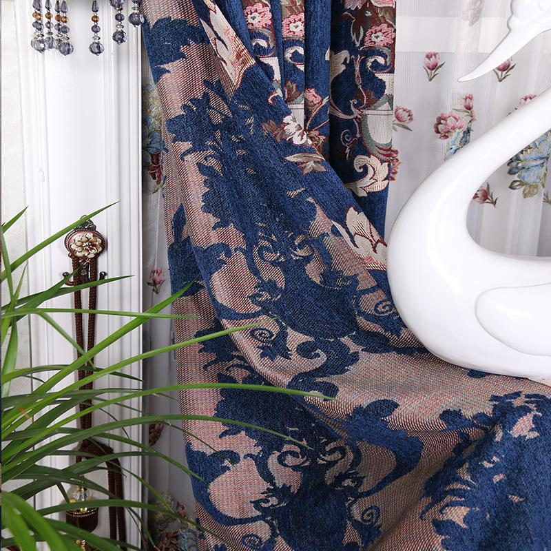 Blauw Paars mand van bloemen poeder kamer gordijnen Borduurwerk Gordijn Klassieke woonkamers slaapkamer de gordijn van kleedkamer - 2