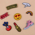 DOUBLEHEE 057 Love Smile Cool Lip The Meat Burger Patches Iron On Or Sew Fabric Sticker For Clothes Embroidered Appliques DIY