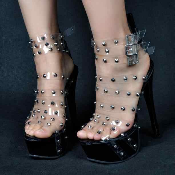 Yaz Kadın Artı Boyutu Ucuz Yüksek Kaliteli Şeffaf PVC Perçin Platformu Süper Stiletto Topuklu Üç Toka yüksek topuklu sandalet