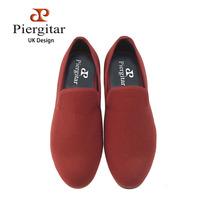 Piergitar New Plain Style Handmade Shoes Red And Blue Color Men Hemp Loafers UK Design Male