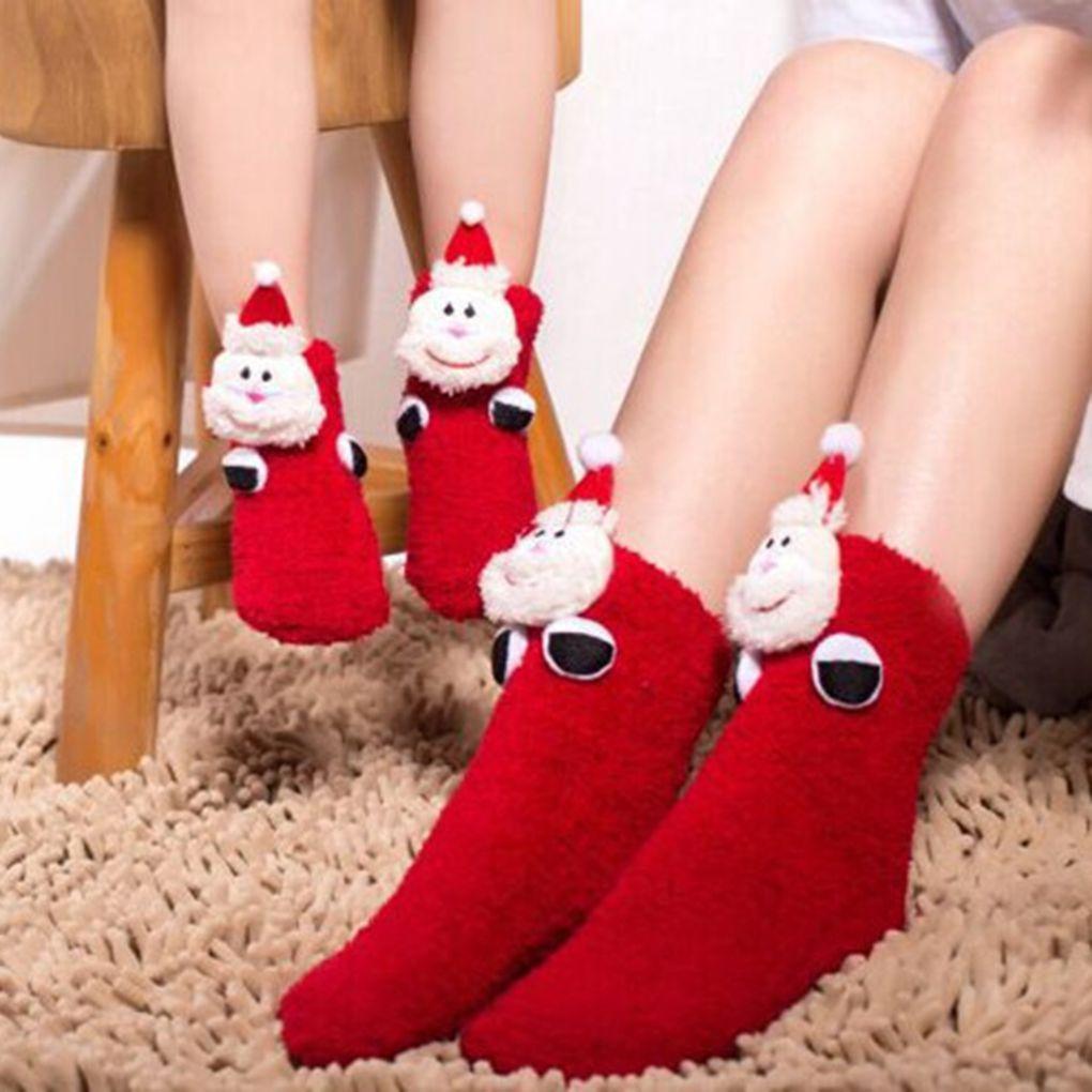 Hot Sale Adults Kids Parent-offspring Warm Christmas Style   Socks   Polyester Cartoon Anti-slip Stereo Doll Floor   Socks