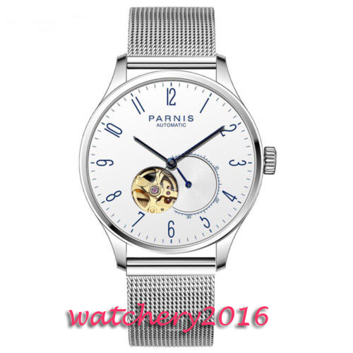 Valentines gifts 42mm Parnis White Dial Blue Hands Stainless steel Case Sweet Luxury Brand Miyota Automatic Movement men's Watch romantic 42mm parnis black dial luxury brand ss case valentines date leather miyota automatic movement men s business watch